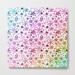 Rainbow Starfish Pattern Metal Print