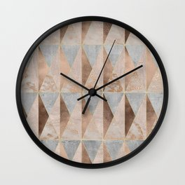 Copper Foil and Blush Rose Gold Marble Triangles Argyle Wall Clock