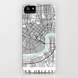 New Orleans Louisiana Blue Water Street Map iPhone Case