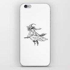 Old witch  flying on a broom. Halloween illustration. iPhone Skin