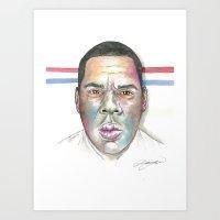 jay z Art Prints featuring Jay-Z by Anthonylanza