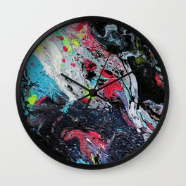 Colorful Abstract Fluid Acrylic Painting 2 Wall Clock