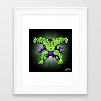 hulk Framed Art Prints featuring Hulk by Liam Sweeney
