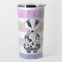 Pastel Color Tones Bea Badger by Bagaceous Travel Mug