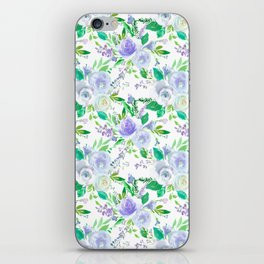 Elegant lilac purple green watercolor hand painted floral iPhone Skin