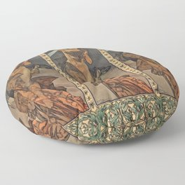 "Alphonse Mucha ""The Moon and the Stars Series: The Morning Star"" Floor Pillow"