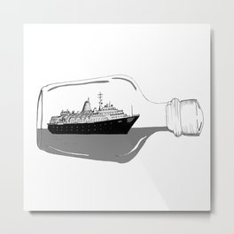 ship in a bottle . Artwork (  https://society6.com/vickonskey/collection ) Metal Print