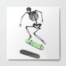 Skeleton Skater Metal Print