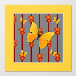 YELLOW FRAMED YELLOW BUTTERFLY POPPY Floral ART Canvas Print
