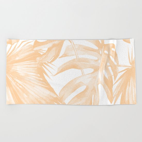 Island Vacation Hibiscus Palm Coral Beach Towel