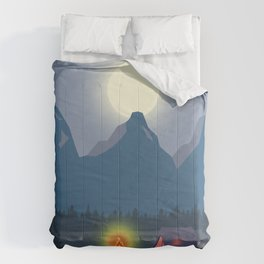 Bonfire camping in the mountains Comforters
