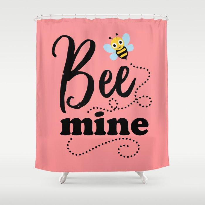 Bee Mine, Cute Valentines Shower Curtain