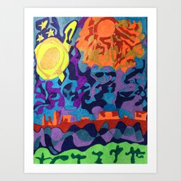 Moon and Sun and Plateaus in the Utah's Desert Art Print