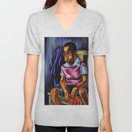 """African American Classical Masterpiece """"Negro Boy, 1938"""" by Hale Woodruff Unisex V-Neck"""