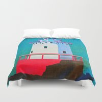 lighthouse Duvet Covers featuring Lighthouse by Judy Palkimas