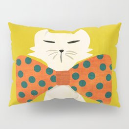 Cat with incredebly oversized humongous bowtie Pillow Sham