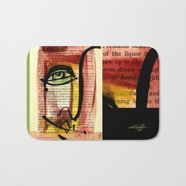 "Funky Face Abstract, ""I See 35"" by Kathy morton Stanion Bath Mat"