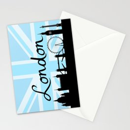 London Script on Union Jack Sky & Sites Stationery Cards