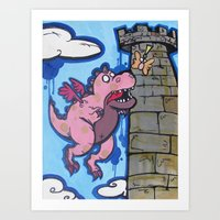 Dragon With Butterfly Wings Art Print
