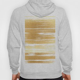 Abstract faux gold white modern paint brushstrokes Hoody