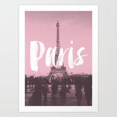 Pink Paris Eiffel Tower Art Print