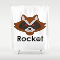 rocket raccoon Shower Curtains featuring Rocket by Pop Culture Fanatics