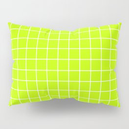 Lime (color wheel) - green color - White Lines Grid Pattern Pillow Sham