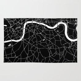 Black on White London Street Map II Rug