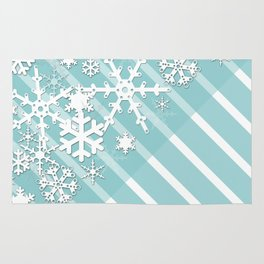 Winter . Paper snowflakes. Rug