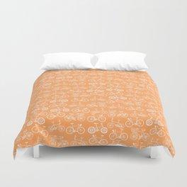 Orange Bicycle Pattern Duvet Cover