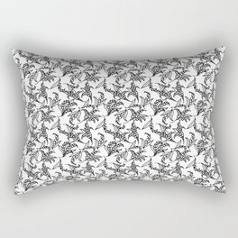 Black on White Vintage Lily-of-the-Valley Pattern Rectangular Pillow
