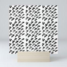 Geometric pattern with hearts - black and white Mini Art Print