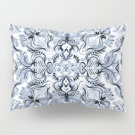 Indigo, Navy Blue and White Calligraphy Doodle Pattern Pillow Sham