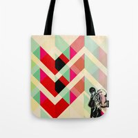 joy division Tote Bags featuring Ian Curtis from Joy division by ░░░░░░░░░░░░