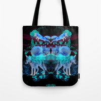 foxes Tote Bags featuring Foxes by Edward Yeung