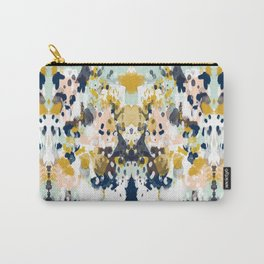 Sloane - Abstract painting in modern fresh colors navy, mint, blush, cream, white, and gold Carry-All Pouch