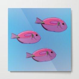 Pink tropical fishes Metal Print