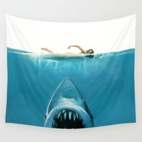 shark Wall Tapestries featuring Shark by Maioriz Home