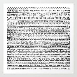 Black and White Tribal Pattern Art Print