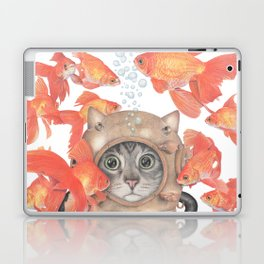 Scuba Cat Among the Fishes Laptop & iPad Skin