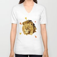 lion V-neck T-shirts featuring lion by gazonula