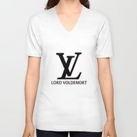 lv V-neck T-shirts featuring LV Lord Voldemort  by A Fuckin' Teenage Tragedy