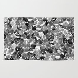 Black and White Abstract Mermaid Scales Pattern Rug