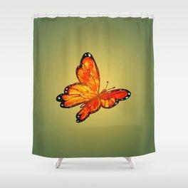 Orange Watercolor Butterfly Design Shower Curtain