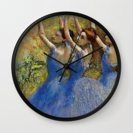 "Edgar Degas ""Dancers in violet dresses, arms raised"" Wall Clock"