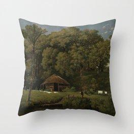 A Barn on the Bank of a Stream in Gelderland - Wouter Johannes van Troostwijk (1805 - 1810) Throw Pillow