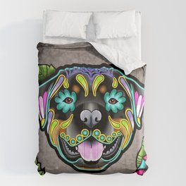 Rottweiler - Day of the Dead Sugar Skull Dog Comforters