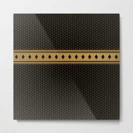 Rich Black Gold Diamond Pattern Design Metal Print