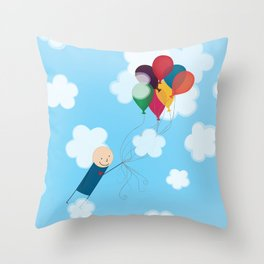 Boy with Balloons Throw Pillow
