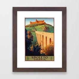 Vintage Spoleto Italy Travel Poster Framed Art Print